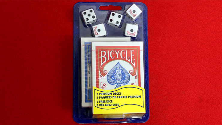 Bicycle 2 Decks Standard Poker and 5 Dice Set - magic