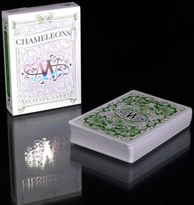 Chameleon Playing Cards signed By Asi Wind (Green) - magic