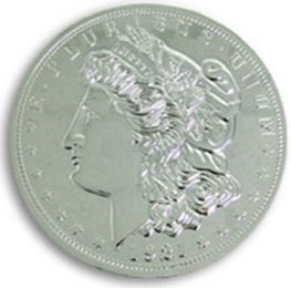 "Jumbo 7"" Morgan Chrome Dollar - magic"