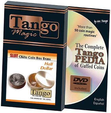 Slot Okito Coin Box (Brass) - Half Dollar - magic