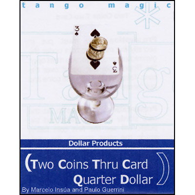 Two Coins Thru Card - Quarter Dollar - magic